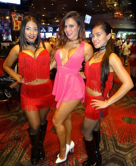 Andrea Rincon with Dancing Dealers at the D Casino Hotel in Las Vegas