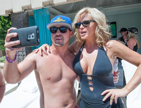 Jenny McCarthy with a fan at Azure Luxury Pool