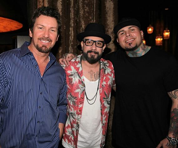 Executive Richard Wilk, Backstreet Boy AJ McLean and Dj Stellar at Andiamo Italian Steakhouse Las Vegas