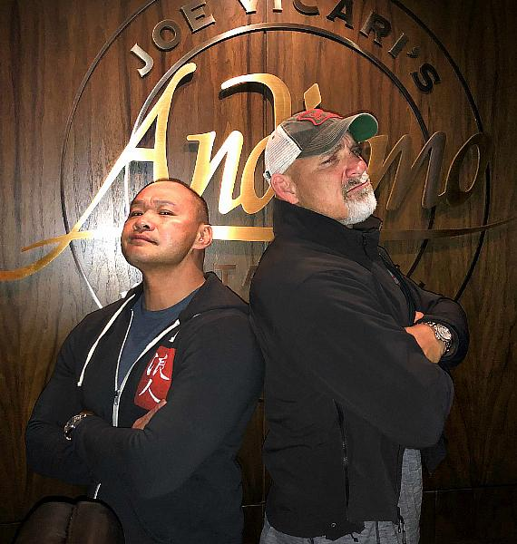 "Bill Goldberg and Tu Lam, hosts of ""Knife Or Death"" eat at Andiamo Las Vegas"