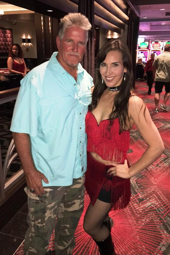 Stuntman Billy Lucas with a Dancing Dealer at the D Casino Hotel