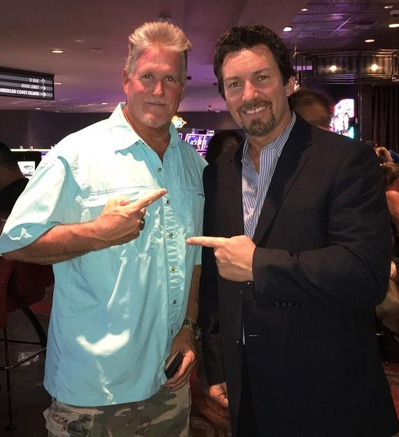 Stuntman Billy Lucas with the D Executive Richard Wilk at the D Casino Hotel Las Vegas