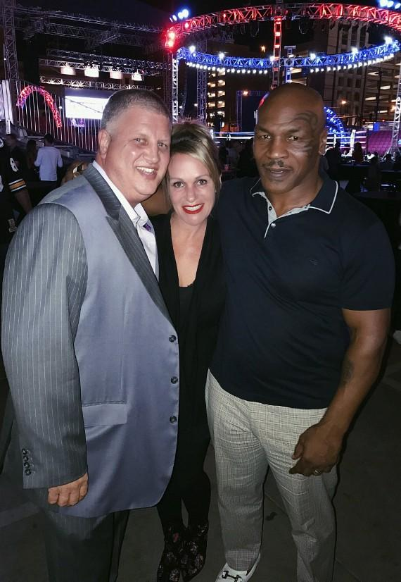 Boxing Legend Mike Tyson (r) with the D Casino Hotel Owner Derek Stevens and his wife Nicole Parthum
