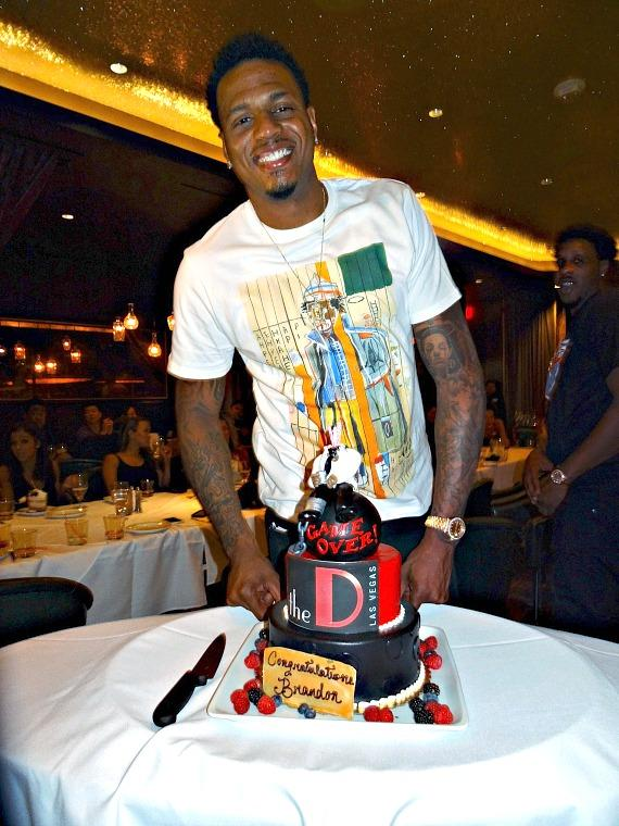 Brandon Rush with Birthday Cake at Bachelor Party in Andiamo Italian Steakhouse inside the D Casino Hotel