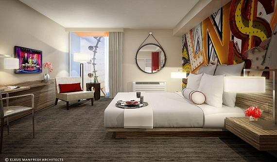 The standard room features a fresh, modern design with floor to ceiling windows, boasting views of the iconic Las Vegas Strip or the High Roller.