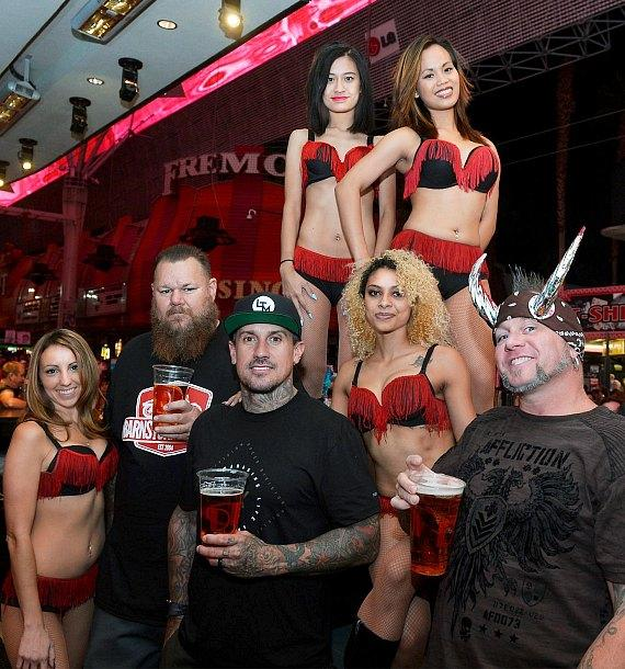 Big G, Carey Hart and Horny Mike with Slushi Bartenders at The D Casino Hotel Las Vegas