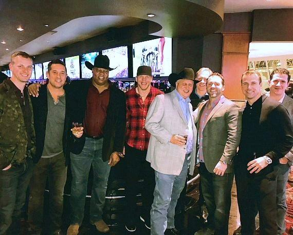 Casino Owner Derek Stevens and former NHL Player Darren Banks posing with Florida Panthers Coaching Staff at the D Las Vegas