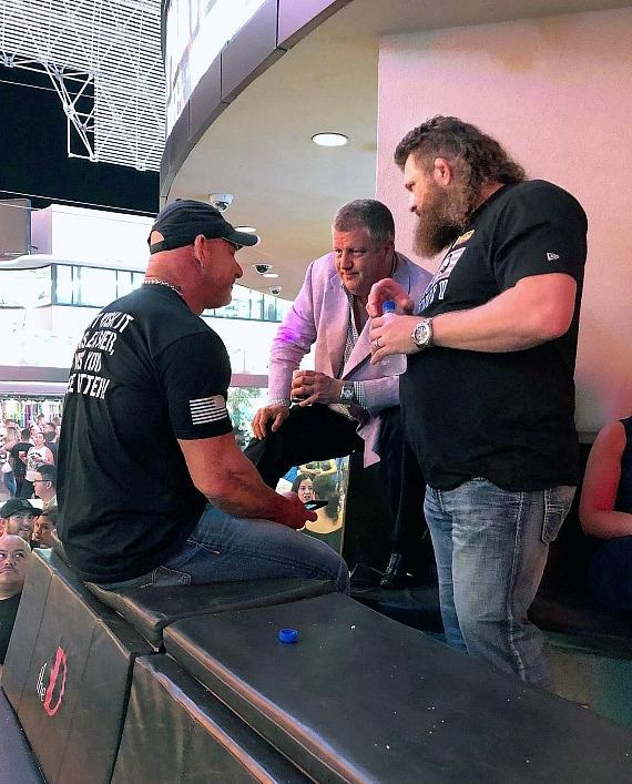 Casino owner Derek Stevens (C) with Bill Goldberg and Roy Nelson at the D Las Vegas