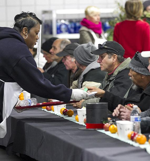 St. Vincent Lied Dining Facility hosts the free community meal that serves an average of 800 men, women, and children every day of the year