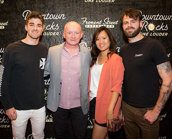 Chainsmokers Alex Pall and Drew Taggart with President of Fremont Street Experience Patrick Hughes