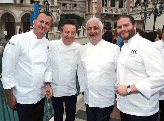 Olivier Dubreuil, Daniel Boulud, Guy Savoy and Julien Asseo during Saber Off at Vegas Uncork'd by Bon Appétit presented by Chase Sapphire Preferred