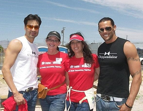 Chippendales Juan DeAngelo and Jace Crispin attended Habitat for Humanity's Women Build event