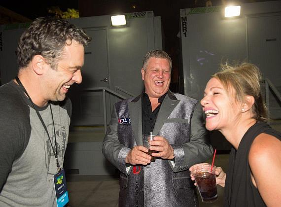 Chris Mckenna with the D Owner Derek Stevens and his wife Nicole Parthum at the Downtown Las Vegas Events Center