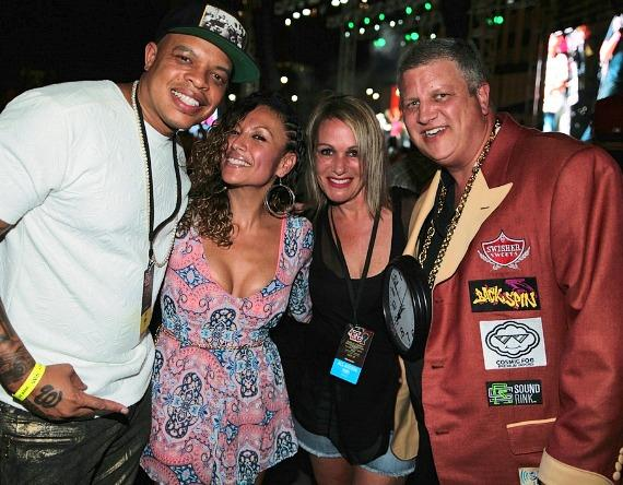 Curtis Young and his wife Vanessa with Derek Stevens and wife Nicole at DLV Events Center in Las Vegas