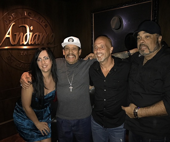 Danny Trejo and Brett Raymer with Producer Frank Damaggio at Andiamo Italian Steakhouse Las Vegas