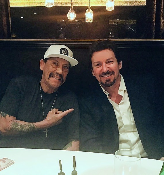 Actor Danny Trejo with D Executive Richard Wilk at Andiamo Steakhouse in the D Casino Hotel Las Vegas