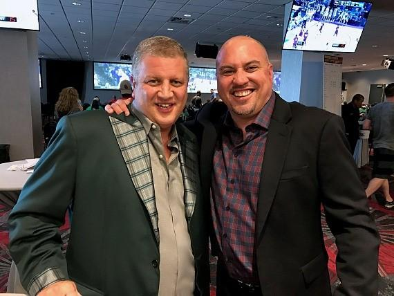 D Owner Derek Stevens with UNLV Coach Tony Sanchez at the D Casino Hotel Las Vegas