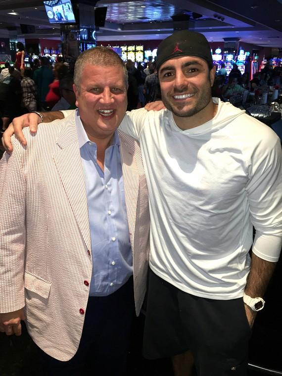 the D Las Vegas owner Derek Stevens with NFL Super Bowl XLIX champ from the New England Patriots, safety Nate Ebner