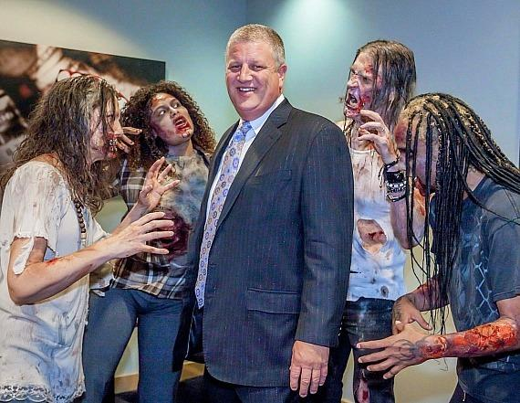 "Derek Stevens surrounded by infected from ""Fear The Walking Dead: Survival"" at The D Casino Hotel Las Vegas"