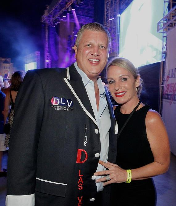 Derek Stevens, Owner of The D Casino Hotel and DLVEC, with wife Nicole Parthum celebrate Go5 watching Rob Thomas and Counting Crows