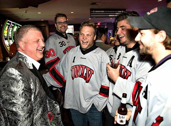 Derek Stevens with UNLV Hockey Players enjoying laughs at The LONGBAR in the D Casino Hotel Las Vegas