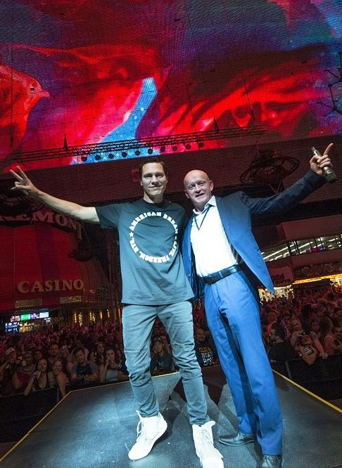 DJ Tiesto with Fremont Street President Patrick Hughes on Third Street Stage at the D on EDC Weekend Las Vegas
