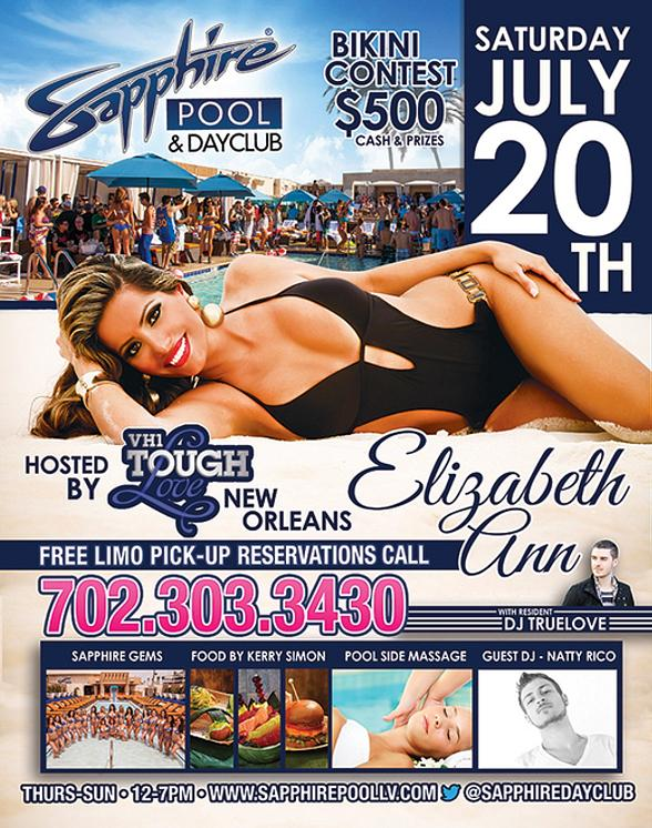 Sapphire Las Vegas Hosts Bikini Contest with Elizabeth from Tough Love New Orleans Saturday, July 20