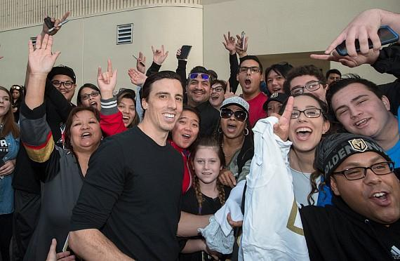 Fan favorite Vegas Golden Knights Marc Andre Fleury outside the D Casino Hotel with Fans