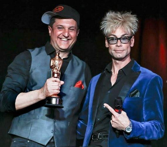 """Douglas 'Lefty' Leferovich with Murray SawChuck, star of """"MURRAY 'Celebrity Magician' at Planet Hollywood in Las Vegas"""