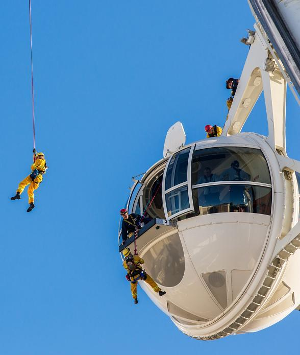 Las Vegas Valley Firefighters Practice Rescues atop The High Roller on Tuesday, March 7