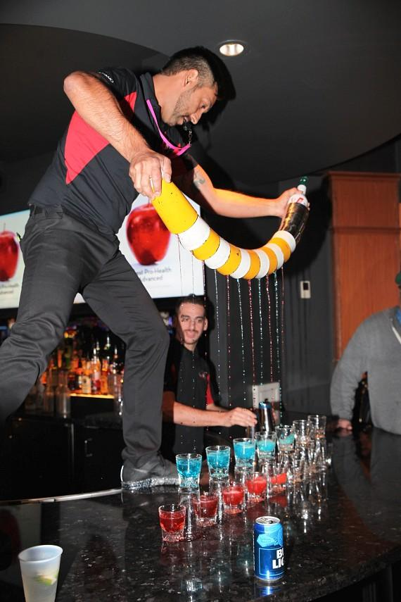 Flair bartenders at the D Casino Hotel's LONGBAR in Las Vegas