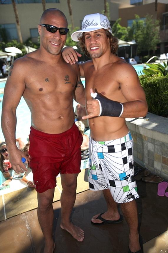 Frank Trigg, Urija Faber and Chuck Liddell at Palms Pool & Bungalows