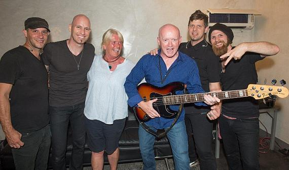 Vertical Horizon backstage with president of Fremont street Patrick Hughes