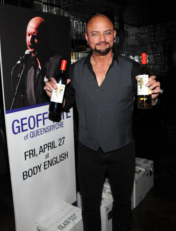 Geoff Tate with his signature wines at Body English at Hard Rock Hotel & Casino