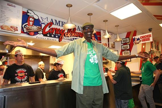 George Bell eats at American Coney Island in Las Vegas