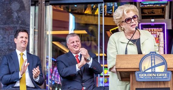 Casino owner brothers Greg Stevens and Derek Stevens with Las Vegas Mayor Carolyn Goodman at Golden Gate expansion opening ceremonies in Downtown Las Vegas