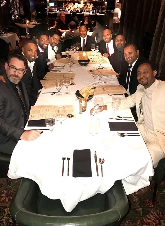 Grey's Anatomy Actor Jason George with friends at Andiamo Steakhouse inside The d Casino Hotel Las Vegas