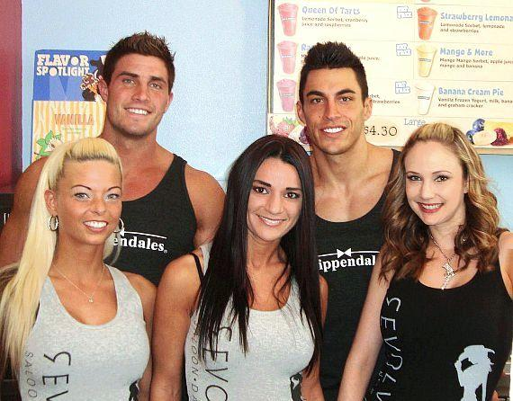 Gavin (L) and John from Chippendales with the Revolver Girls