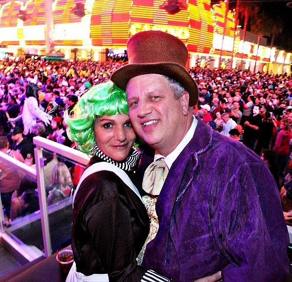 Casino Owner Derek Stevens and wife Nicole (on left) as Willy Wonka characters
