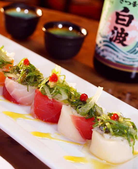 Hand-rolled sushi options include signature rolls like the Hawaiian Five-O Roll, available at Ondori Asian Kitchen.