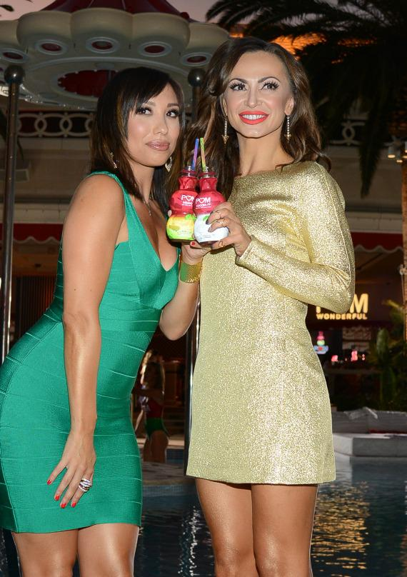 Cheryl Burke and Karina Smirnoff at launch of POM Wonderful's Juice Blends at Encore Beach Club