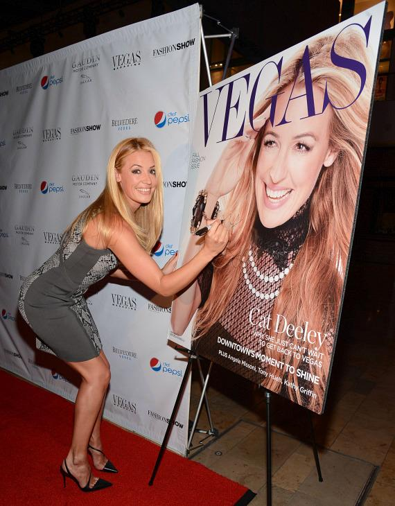 Cover Star Cat Deely autographs Vegas Magazine September Fall Fashion Issue Cover