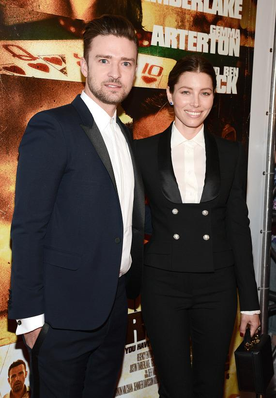 Justin Timberlake and Jessica Biel at Runner Runner premiere at Planet Hollywood in Las Vegas