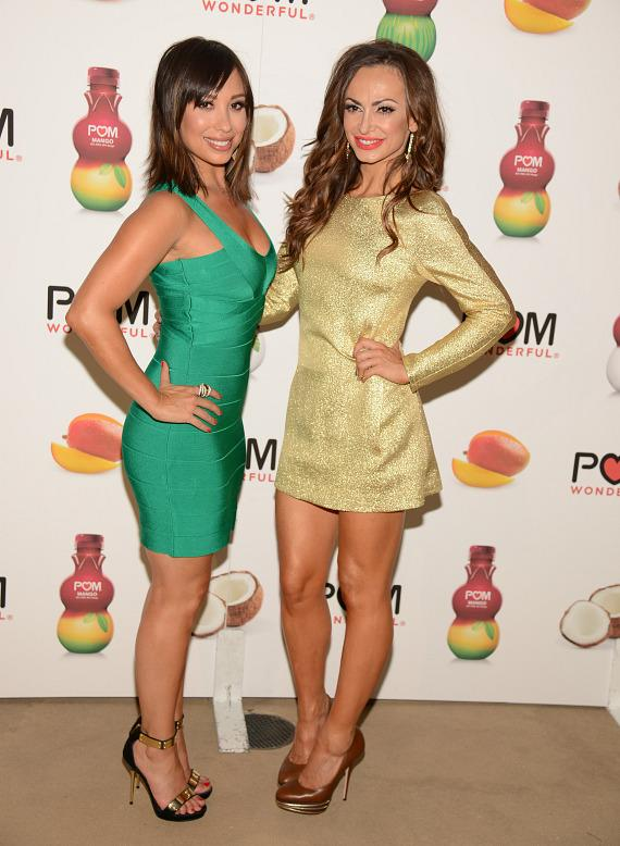 Cheryl Burke and Karina Smirnoff celebrate the launch of POM Wonderful's Juice Blends at Encore Beach Club