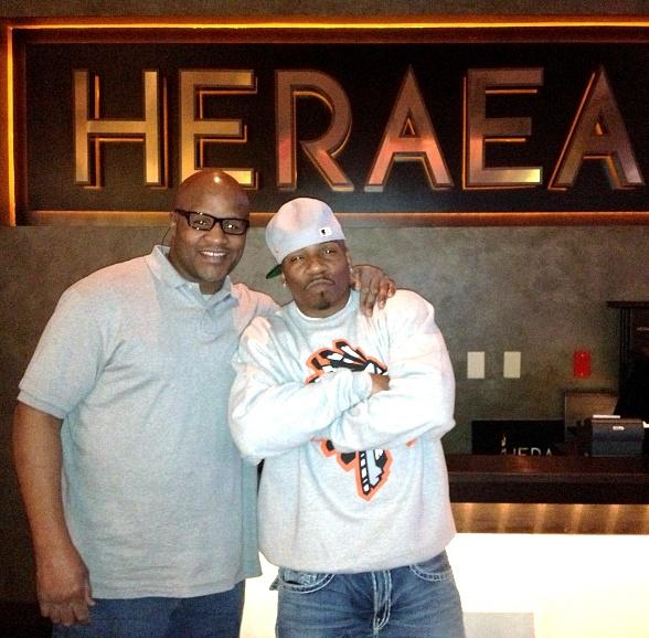 Heavyweight Boxing Champion Michael Moorer with friend at Heraea in Las Vegas