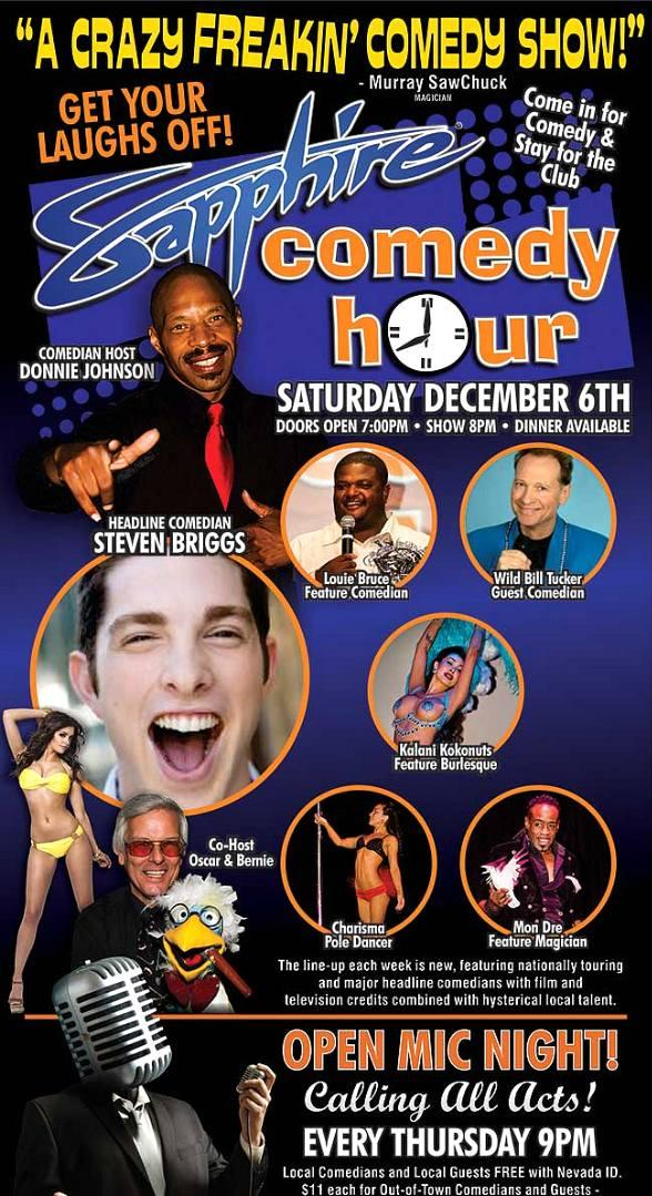 Comedian Steven Briggs to Headline Sapphire Comedy Hour on Saturday, Dec. 6
