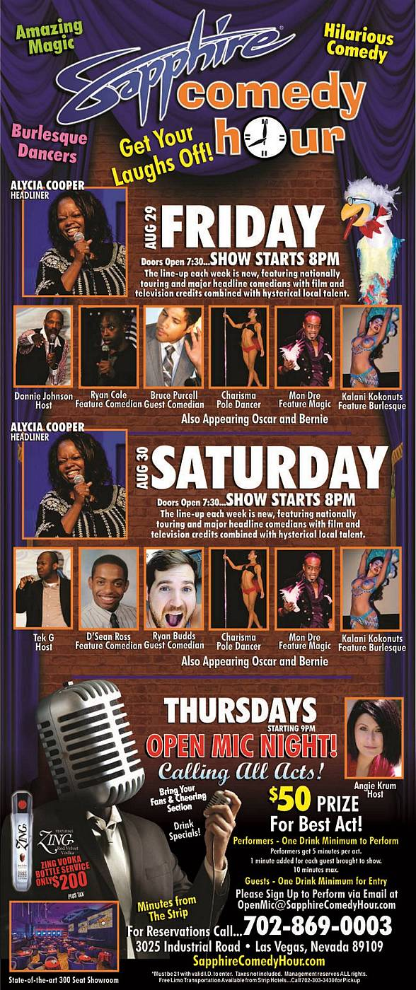 Alycia Cooper to Headline Sapphire Comedy Hour on Friday, Aug 29 and Saturday, Aug 30