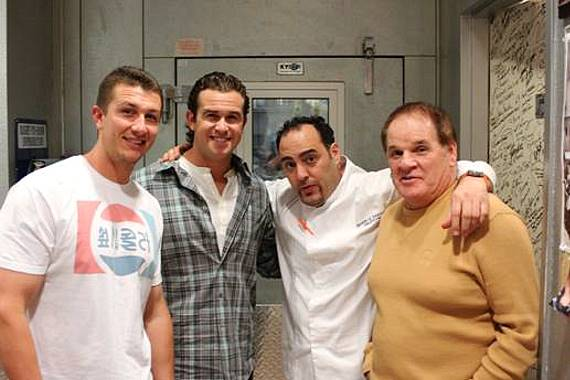 Troy Tulowitzki, Evan Longoria, Executive Chef Barry and Pete Rose