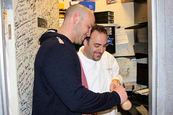 Matthew Holliday signing Executive Chef Barry's baseball bat