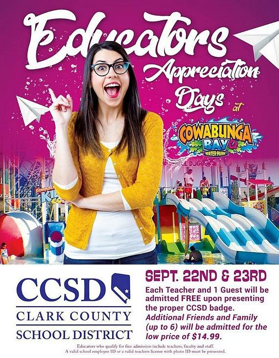 Next weekend, Sept. 22 & 23, all teachers, faculty and a guests get in free to the Waterpark. Must show School ID Badge.
